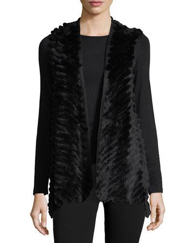Love Token High-Low Fur Vest In Black