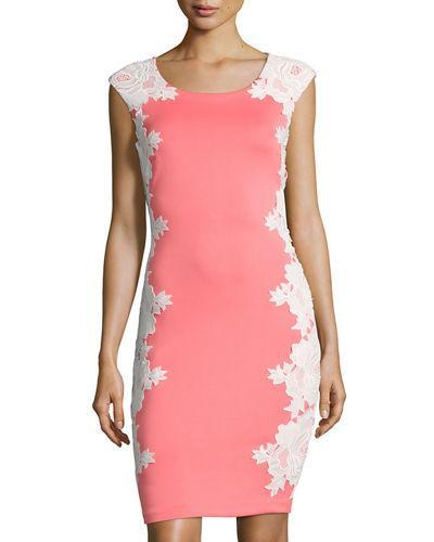 e9860dbc Jax Floral Lace Applique Sheath Dress In Pink/White   ModeSens