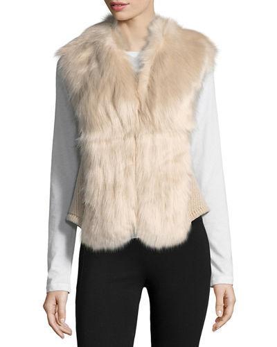 Love Token Faux-Fur Open-Front Vest In Blush