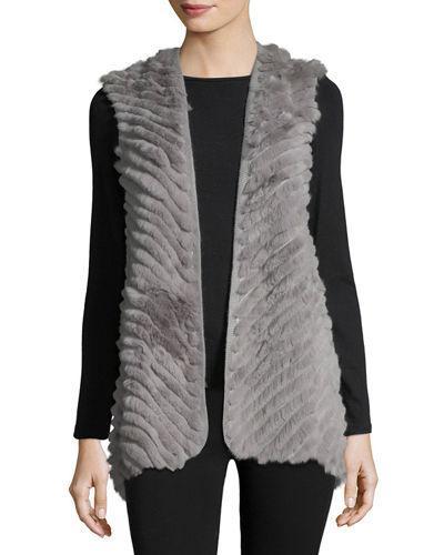 Love Token High-Low Fur Vest In Gray