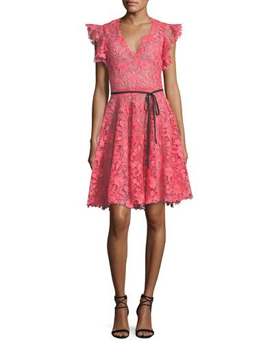 Monique Lhuillier Ruffle-Sleeve Lace Cocktail Dress In Coral