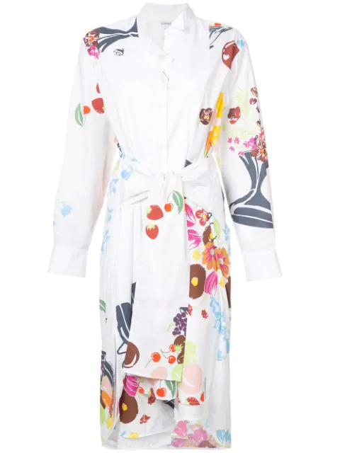 Loewe Multicolor Asymmetrical Shirtdress In White
