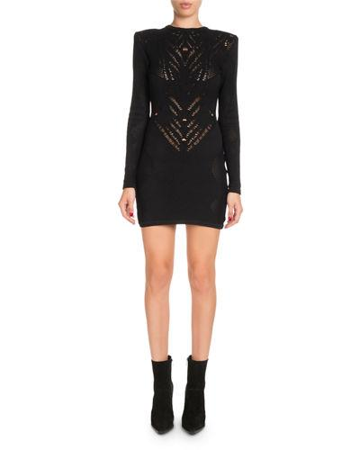 a19efda1 Balmain High-Neck Long-Sleeve Knit Lace Short Dress In Black | ModeSens