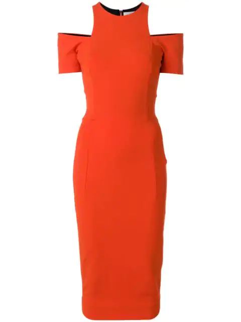 Victoria Beckham Compact Knit Cold-Shoulder Midi-Dress In Red