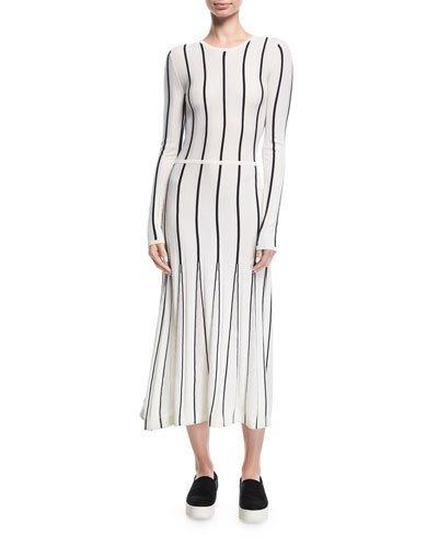 9b5eeaee07 Gabriela Hearst Striped Long-Sleeve Midi Dress In White Blue