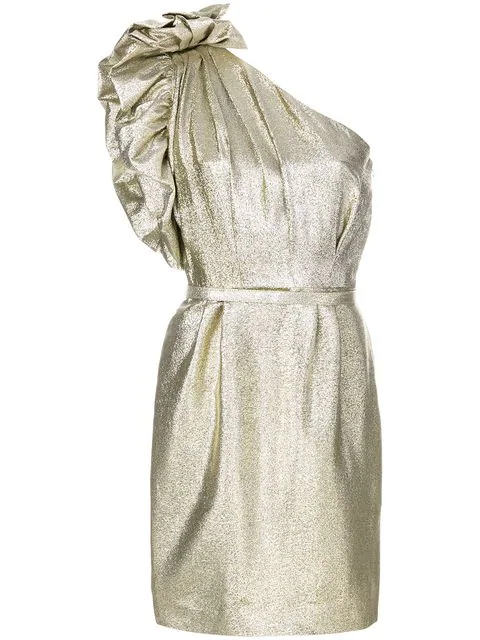 a8d280c725d Stella Mccartney One-Shoulder LamÉ Cocktail Dress W  Ruffled Detail In  Metallic