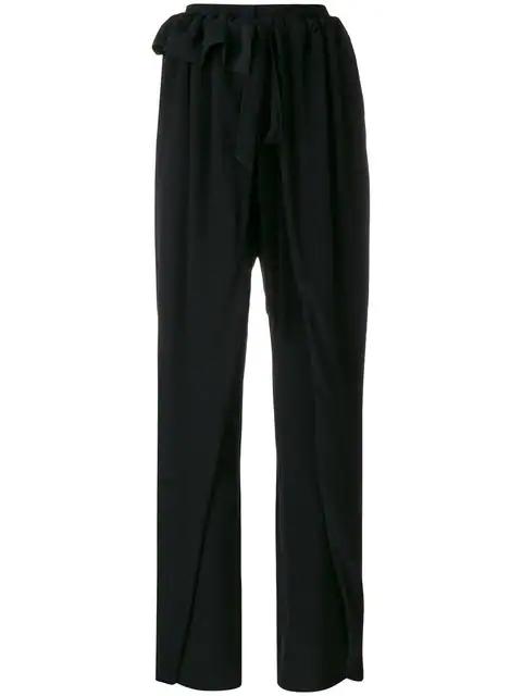 Stella Mccartney Apron-Front Wide-Leg Silk Crepe De Chine Pants In Black