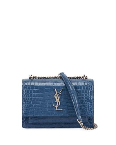 Saint Laurent Sunset Monogram Small Crocodile-Embossed Wallet On A Chain In  Light Blue ad1b56932710c
