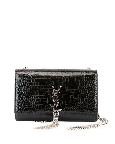 8b6cde80c9b4 Saint Laurent Medium Kate Tassel Croc Embossed Calfskin Leather Crossbody  Bag - Black