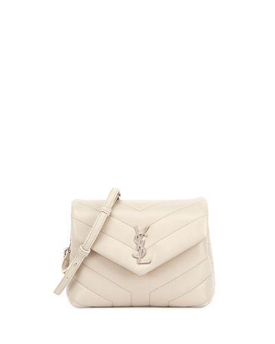 9e61378744e Saint Laurent Loulou Monogram Ysl Mini V-Flap Calf Leather Crossbody Bag -  Nickel Oxide