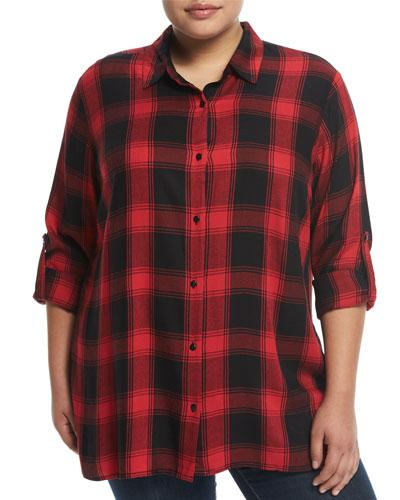 Chelsea & Theodore Ls Button Up Blouse, Plus Size In Red/black