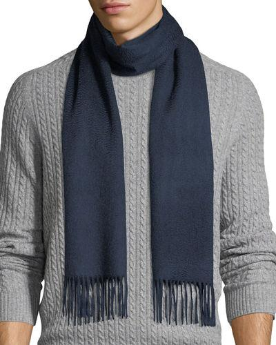 Neiman Marcus Cashmere Solid Fringe Scarf In Navy