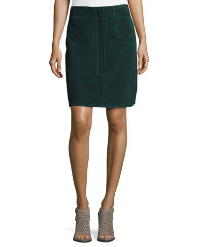 M.i.h Jeans Coda Suede A-line Skirt, Bottle Green