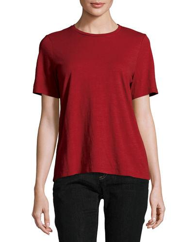 Eileen Fisher Short-sleeve Slubby Organic Jersey Top In China Red