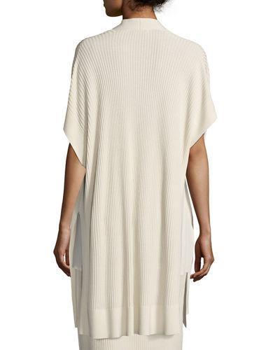 Eileen Fisher Long Sleek Tencel® Ribbed Kimono Cardigan, Petite In Bone