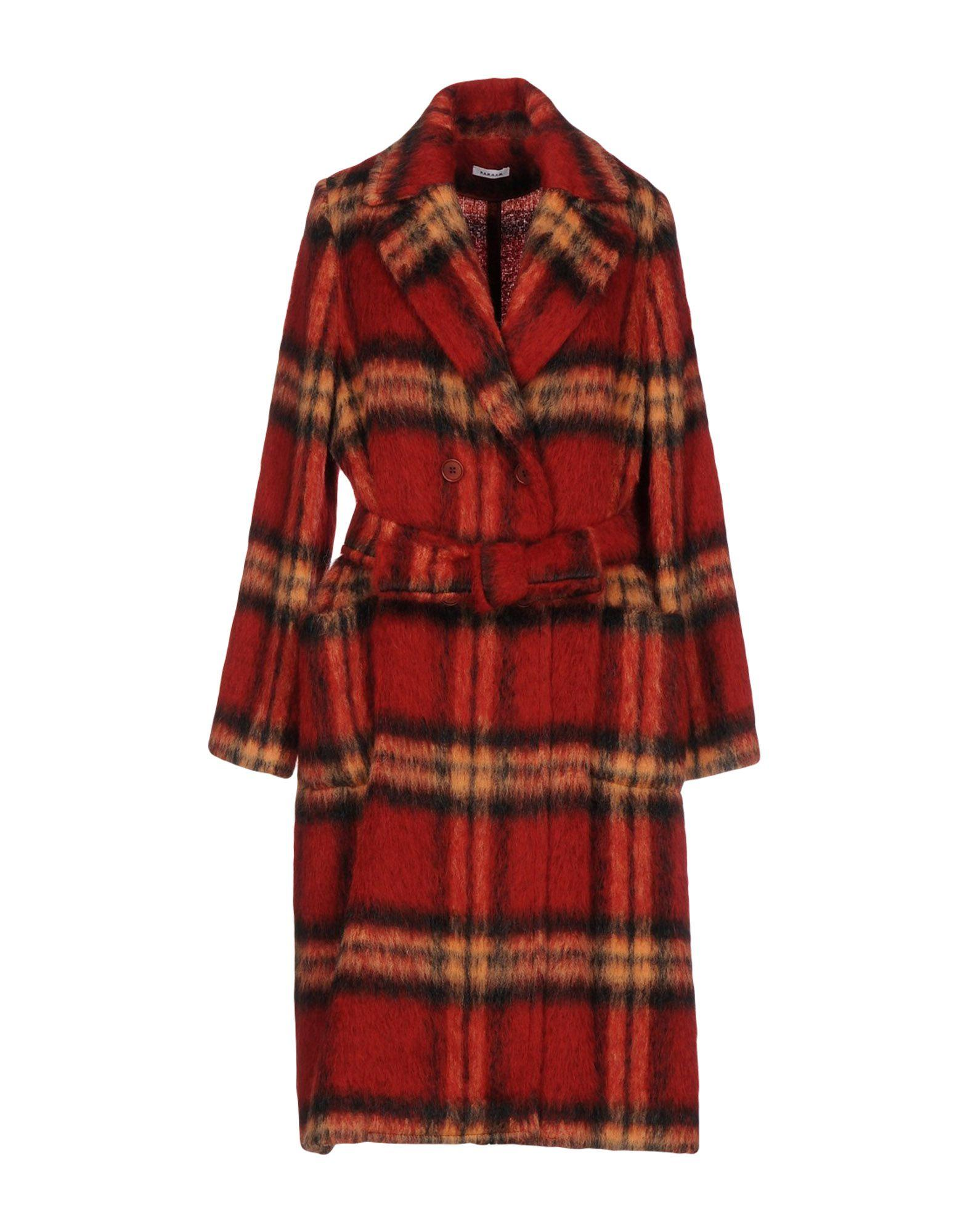 P.a.r.o.s.h. Belted Coats In Brick Red