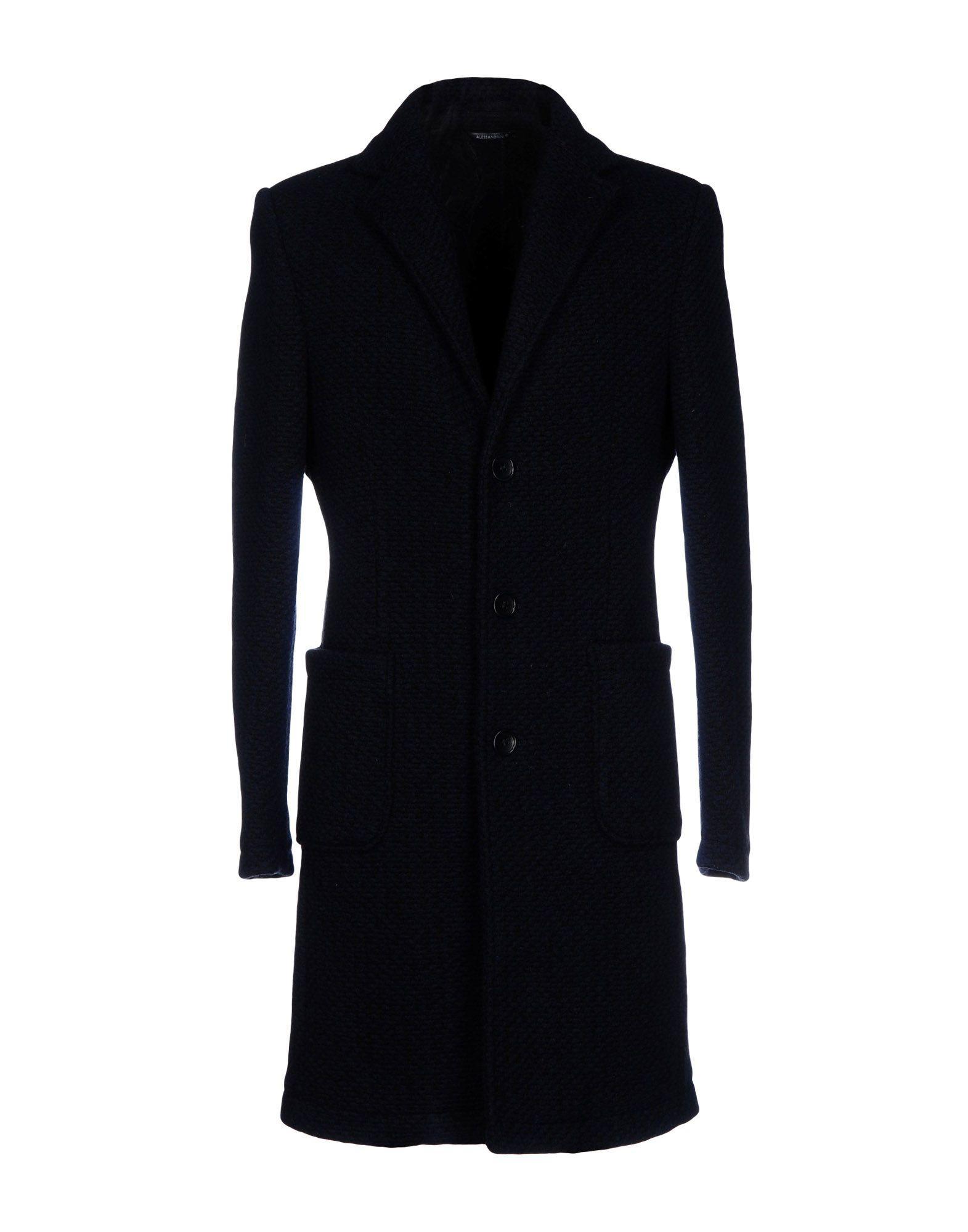 Grey Daniele Alessandrini Coat In Dark Blue
