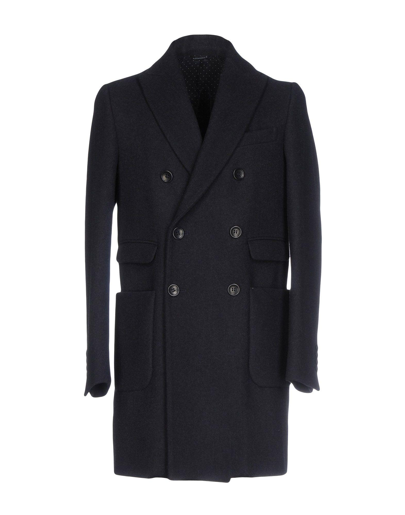Grey Daniele Alessandrini Coats In Dark Blue