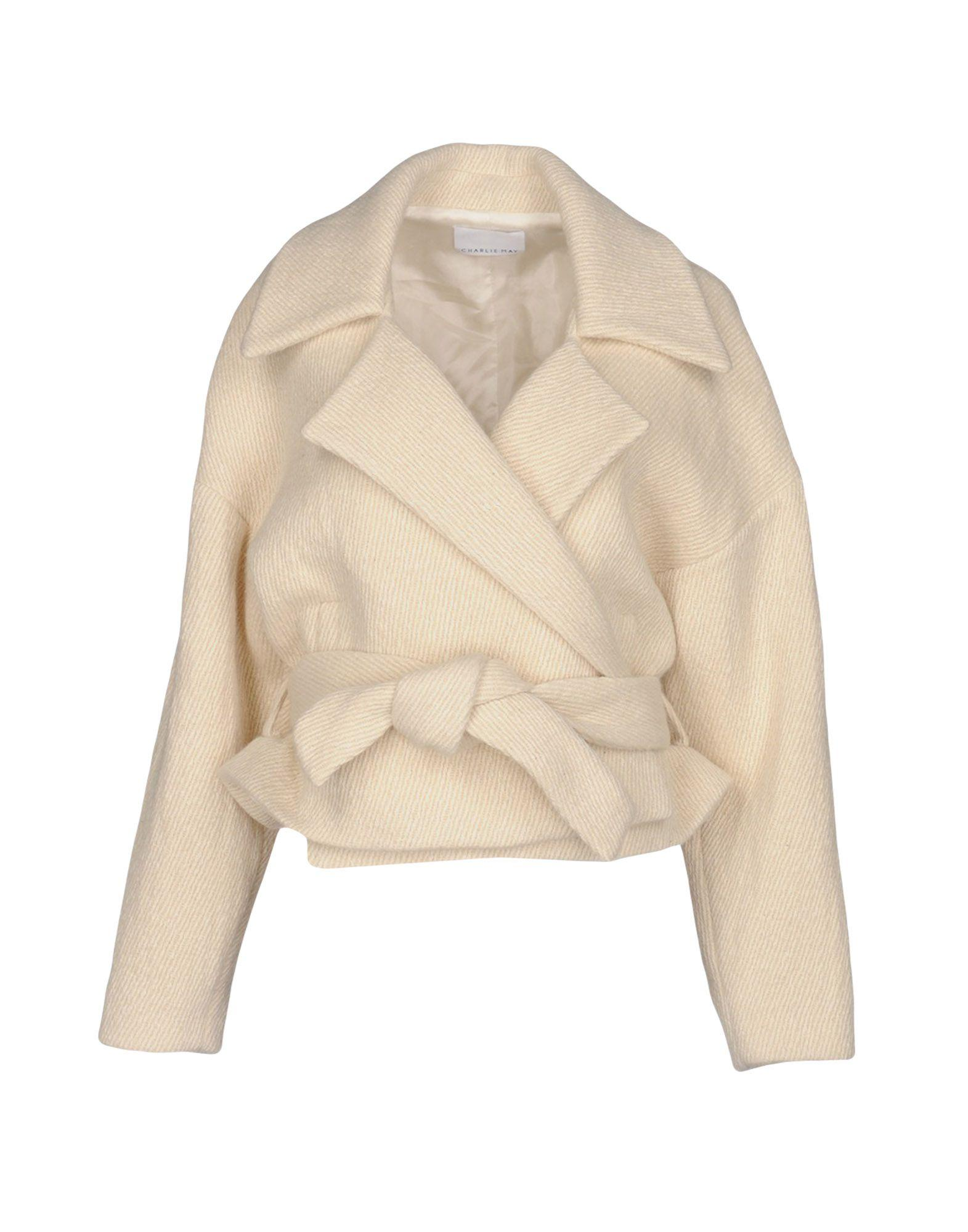 Charlie May Belted Coats In Ivory