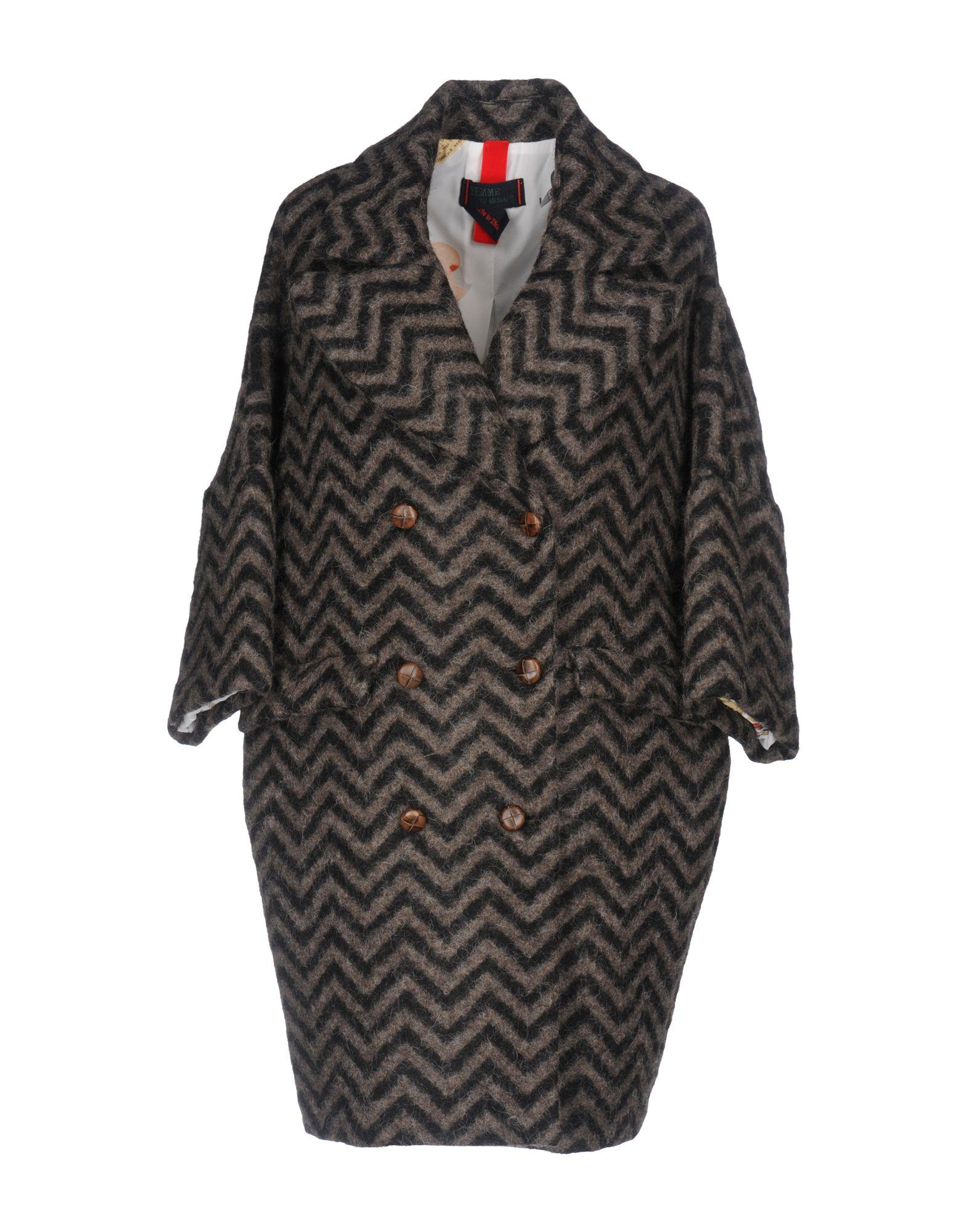 Femme By Michele Rossi Coats In Khaki