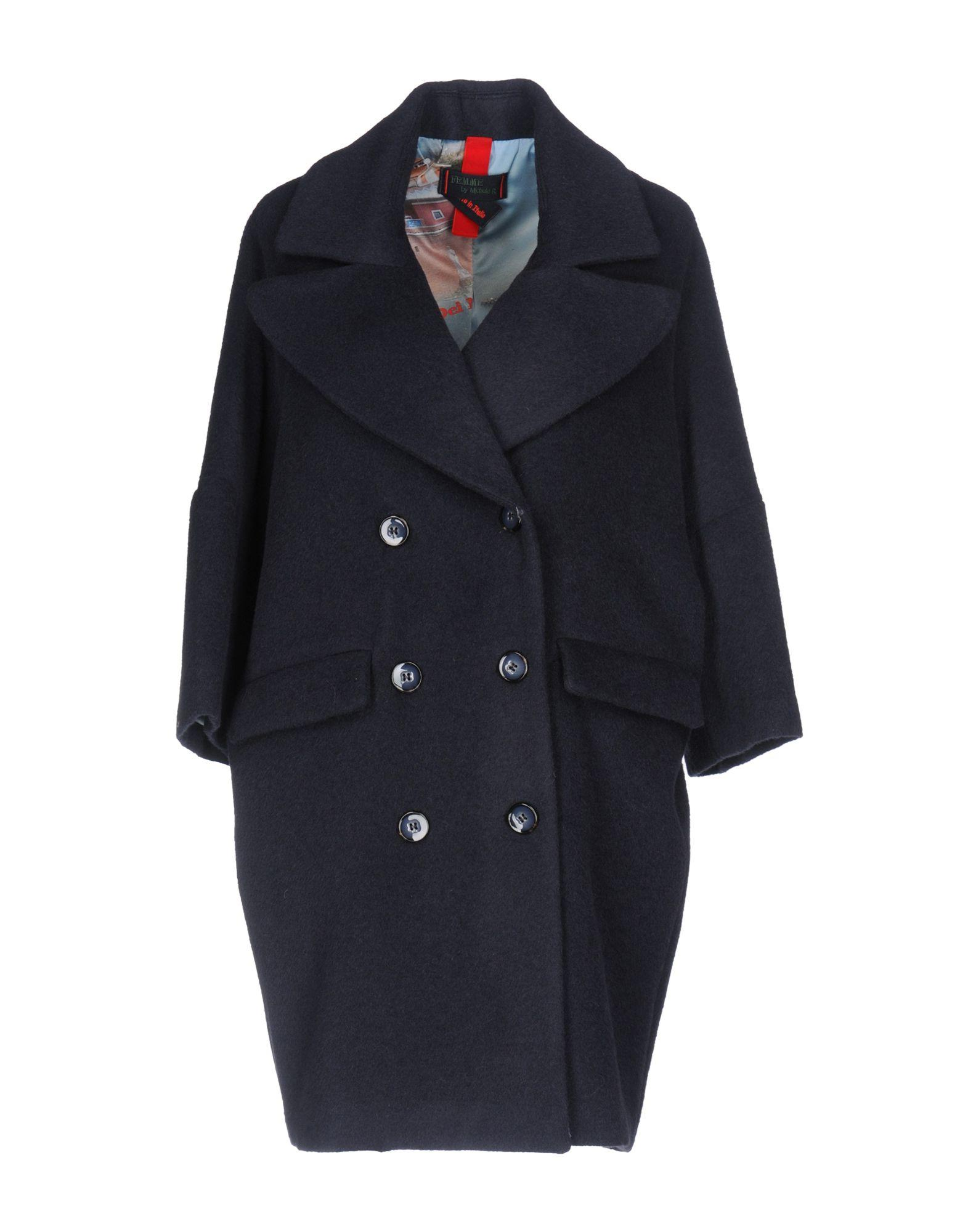 Femme By Michele Rossi Coats In Steel Grey