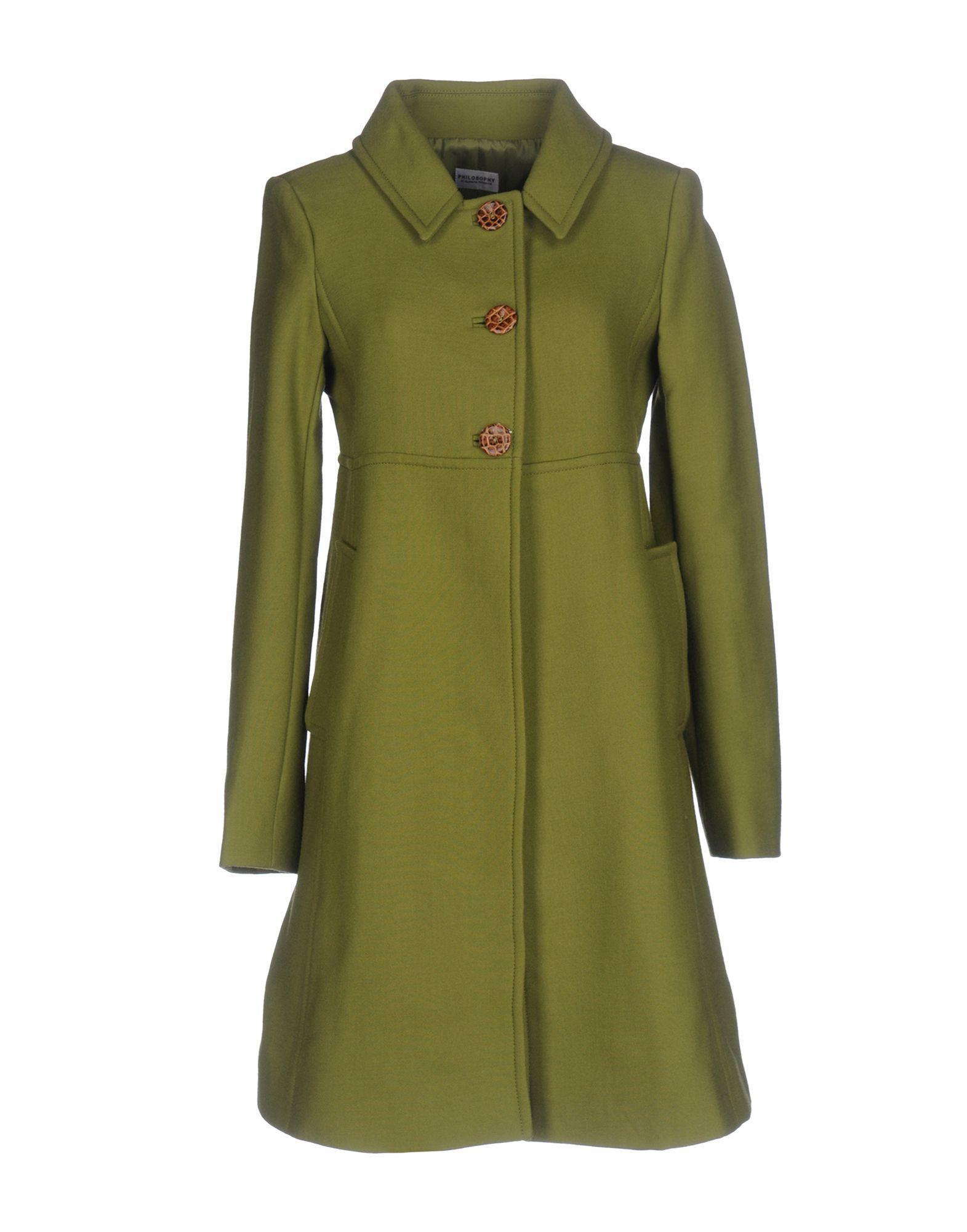 Philosophy Di Alberta Ferretti Coat In Military Green
