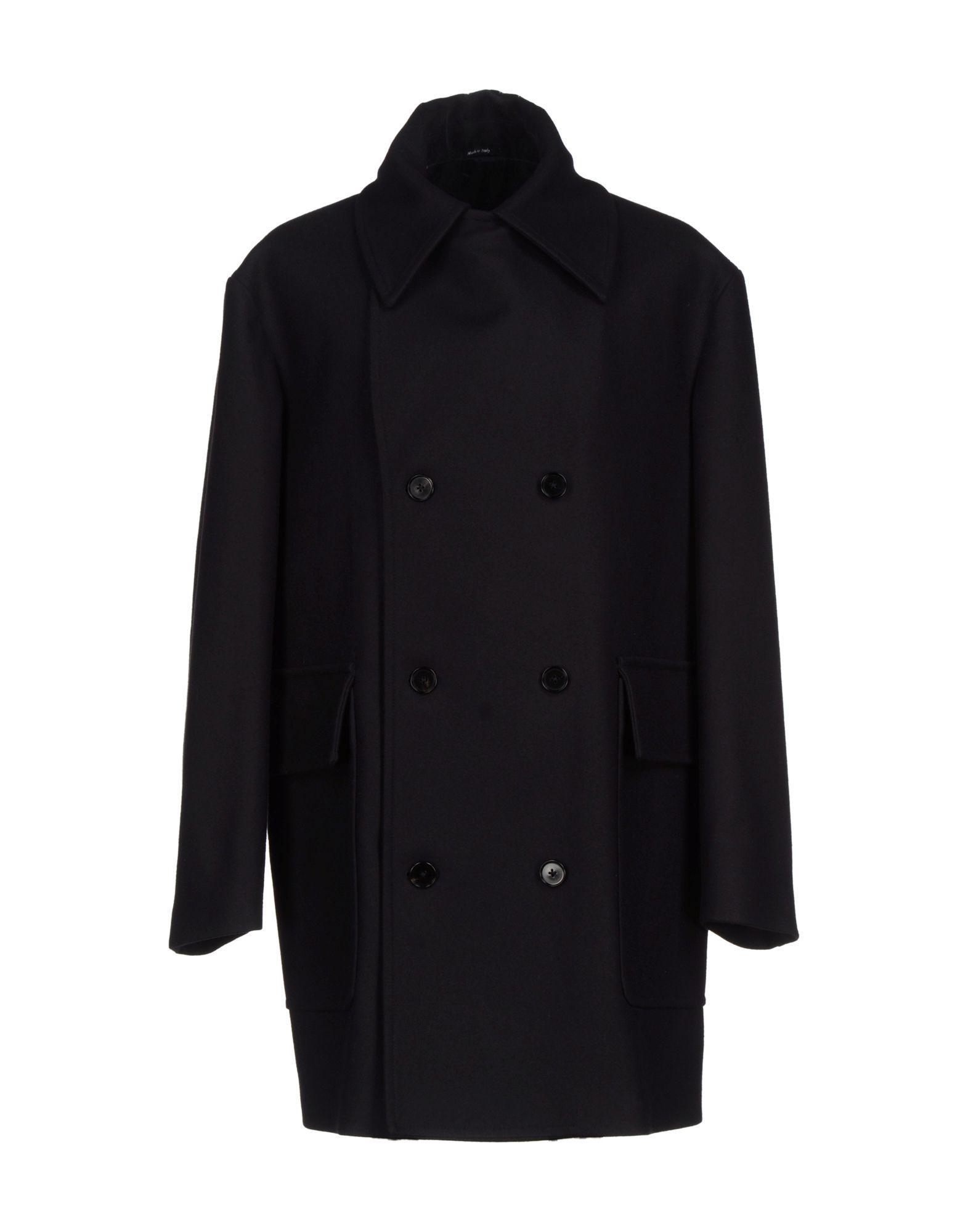Maison Margiela Coat In Dark Blue