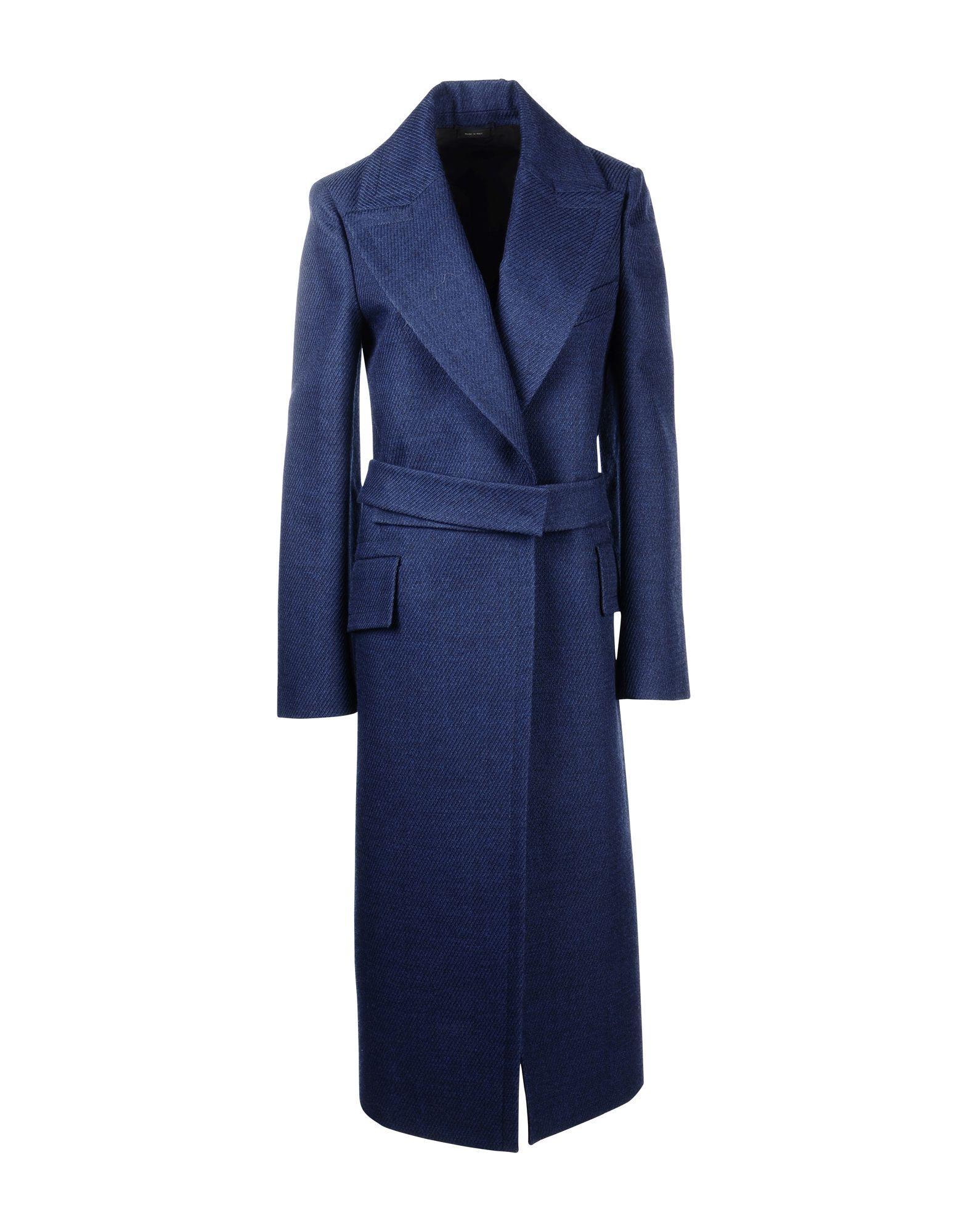 Jil Sander Belted Coats In Blue
