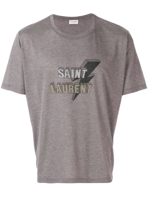 Saint Laurent W New Logo Lighting Bolt T-shirt In Purple