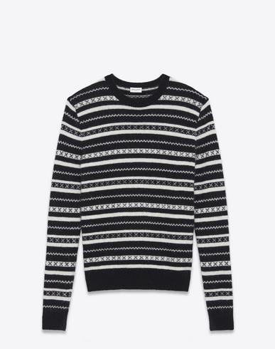 d3bc2a4eddb Saint Laurent Fair Isle Jacquard-Knit Ohair-Blend Sweater - Black In  9787Whtblk
