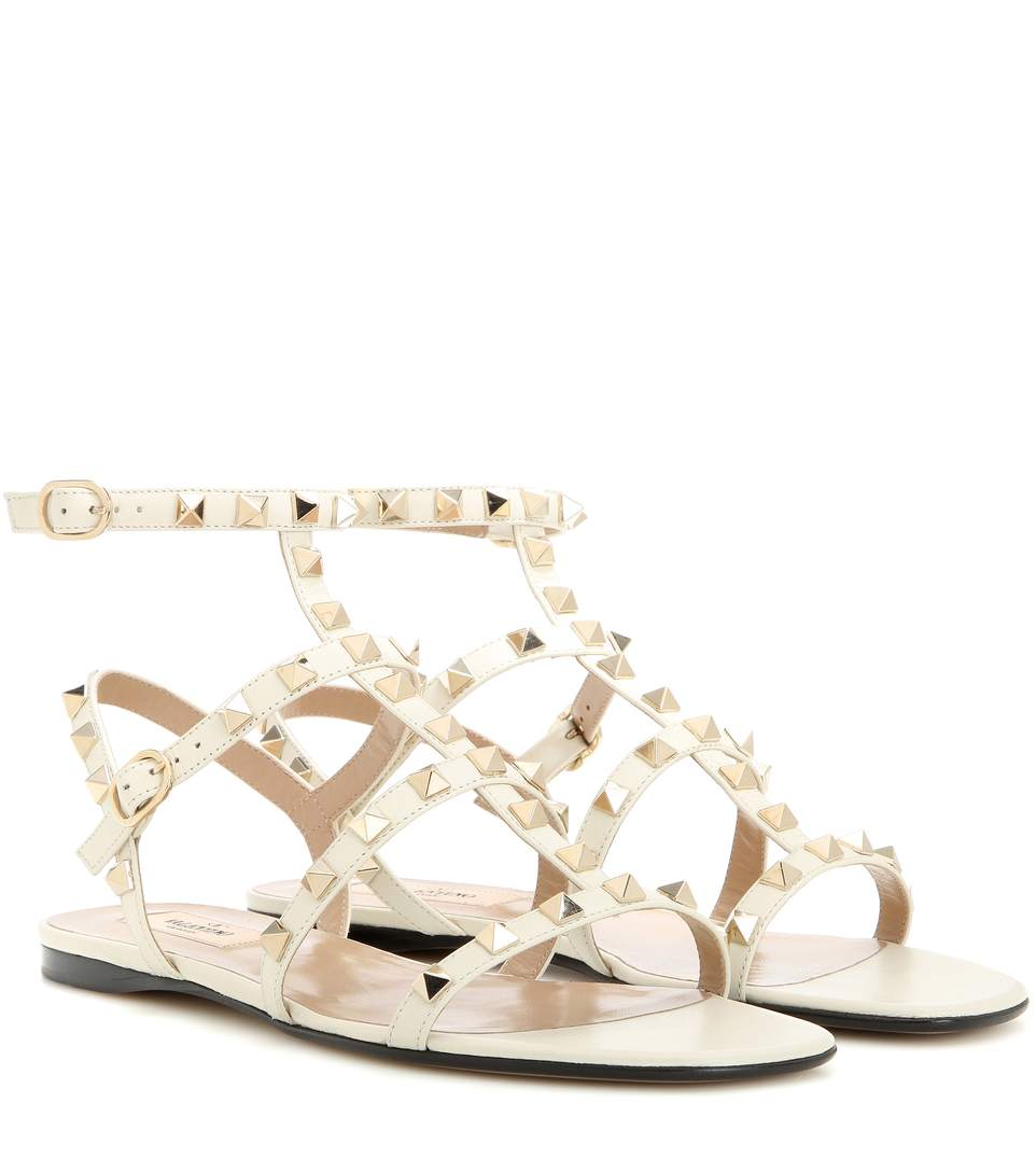 7f3111665d5a9 Valentino Rockstud Flat Leather Sandals In White