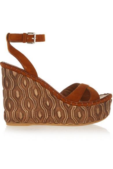 Miu Miu Suede Platform Wedge Sandals In Brown