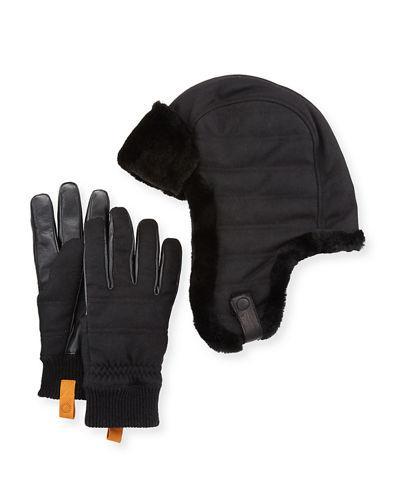 9d8be2008a1 Men's Shearling-Trim Hat & Gloves Gift Set in Black