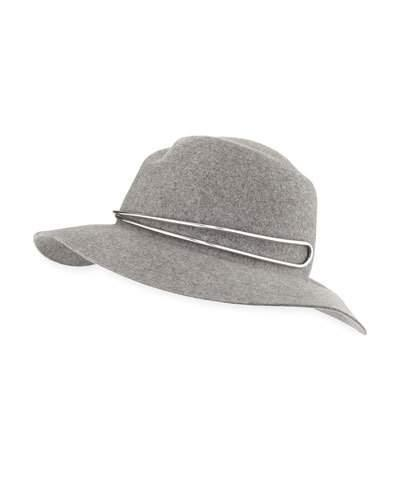 Rag   Bone Zoe Fedora Hat W  Silvertone Hardware In Light Gray ... 7a3497ca86c4