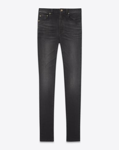 94faa5a3597 Saint Laurent High-Rise Skinny Jeans In Black Stretch Denim In Deep Dark  Black