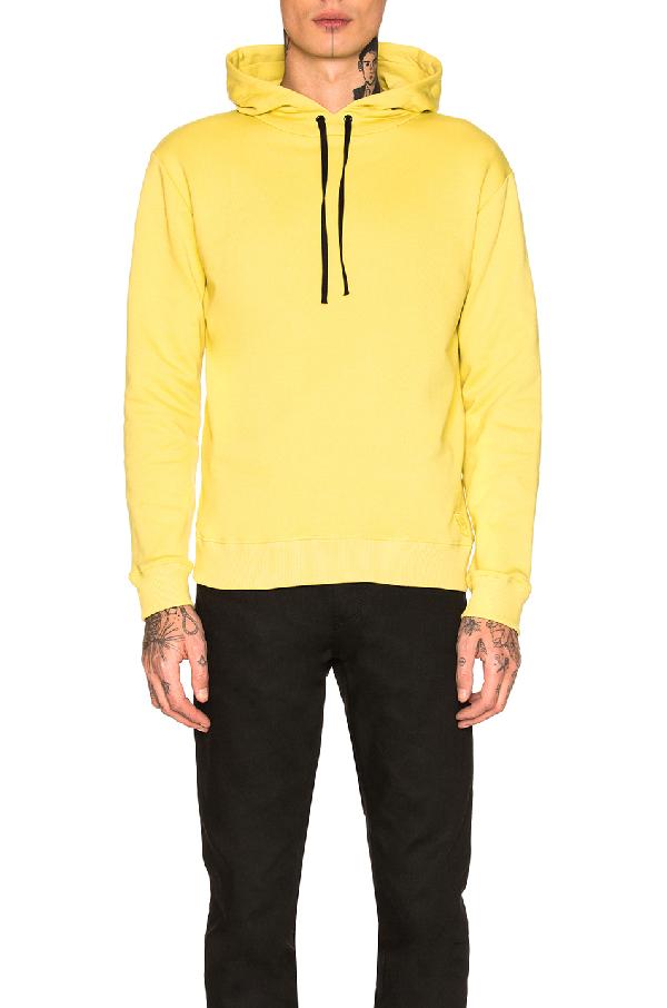 Saint Laurent Yellow Cotton Fleece Hoodie With Black Drawstring