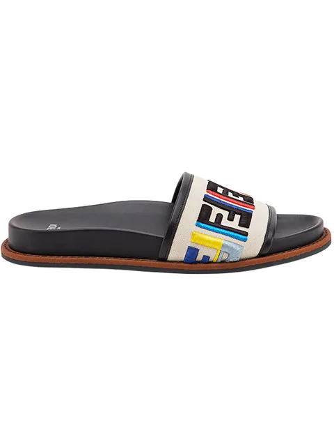 e64aaf672 Fendi Ff Logo Embroidered Flat Sandal