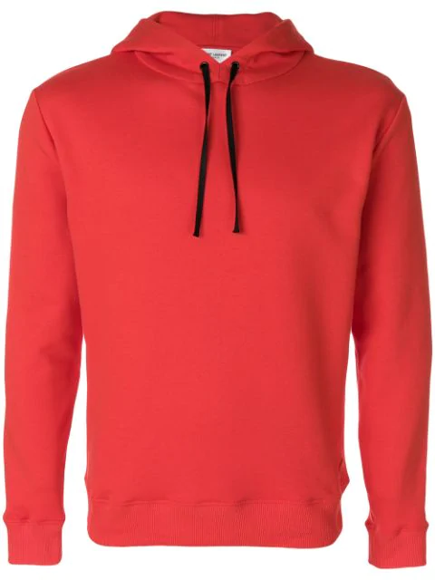 Saint Laurent Red Cotton Fleece Hoodie With Black Drawstring