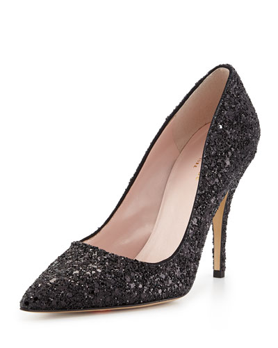 Kate Spade Licorice Pointed-Toe Dress Pumps, Black/Glitter