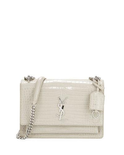 bfbfbdd18c7a Saint Laurent Sunset Medium Crocodile-Embossed Crossbody Bag In Ivory.  MEMBER ONLY. 2290Login to see price