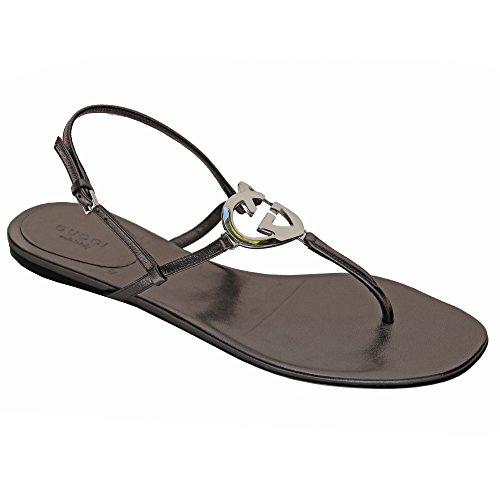 ca0169c0017 Gucci Thong Sandal Interlocking G Flat Leather Metal Gg Logo In Ellesmere  Metallic