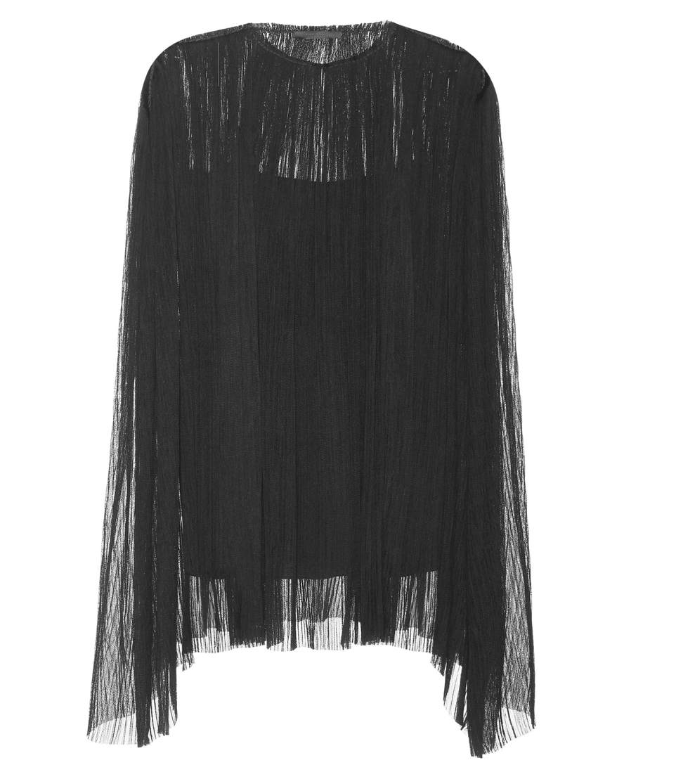 The Row Bapel Pleated Silk Top In Black