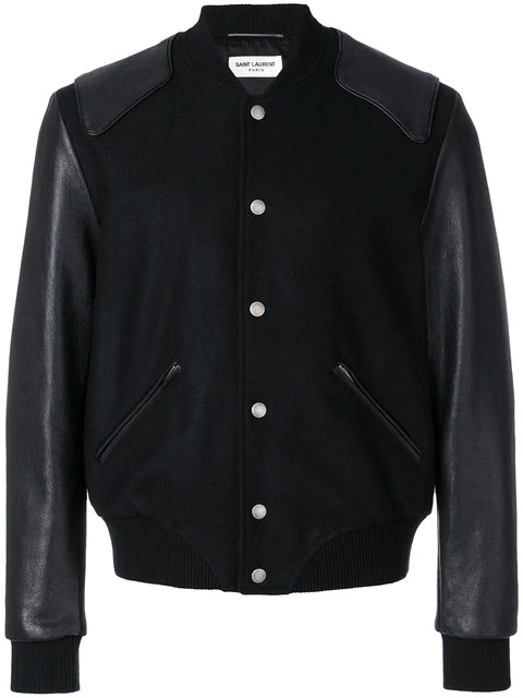 899bcb15c Teddy Virgin Wool Blouson With Leather Sleeves in Black