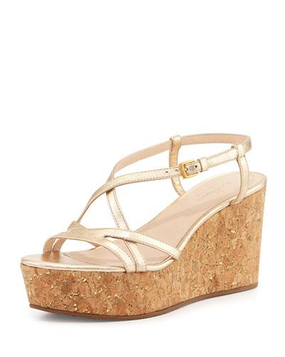 53e57a82d0a Kate Spade Tallin Metallic Leather Cork Platform Wedge Sandals In ...