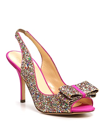 Kate Spade Charm Satin And Glitter Leather Slingback Pumps In  Select Color