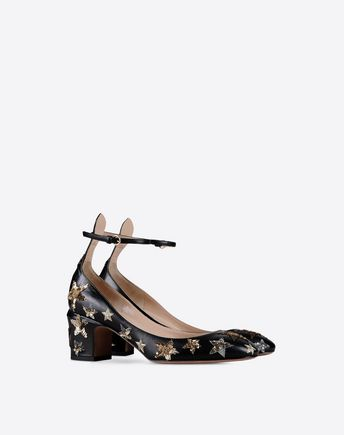 fd4280f03c1 Valentino s Tango ankle-strap pumps are crafted of black smooth leather  embellished with gold and silver embroidery and sequins in a star pattern.