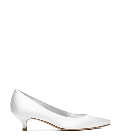 Stuart Weitzman The Poco Pump In White Satin