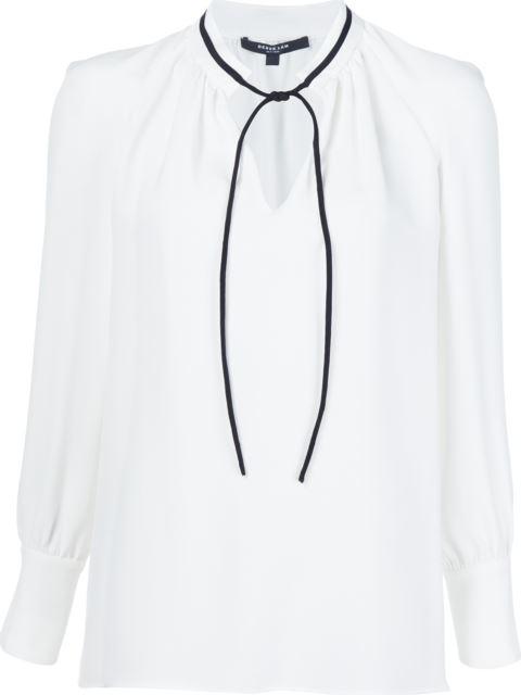 Derek Lam Long-Sleeve Tieneck Silk Blouse In White
