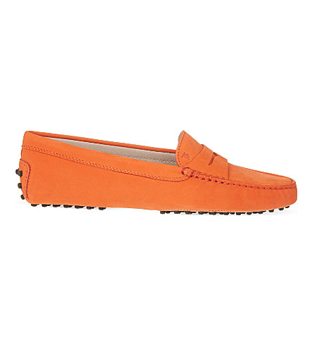 Tod's Gommino Driving Shoes In Leather In Orange