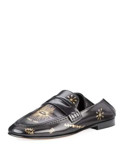 f3758f208d7 Isabel Marant Fanzel Collapsible-Heel Leather Loafers In Metallic Black